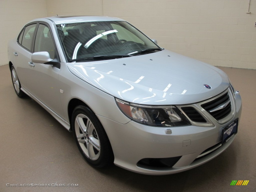 Diamond Silver Metallic / Black Saab 9-3 2.0T Sport Sedan XWD