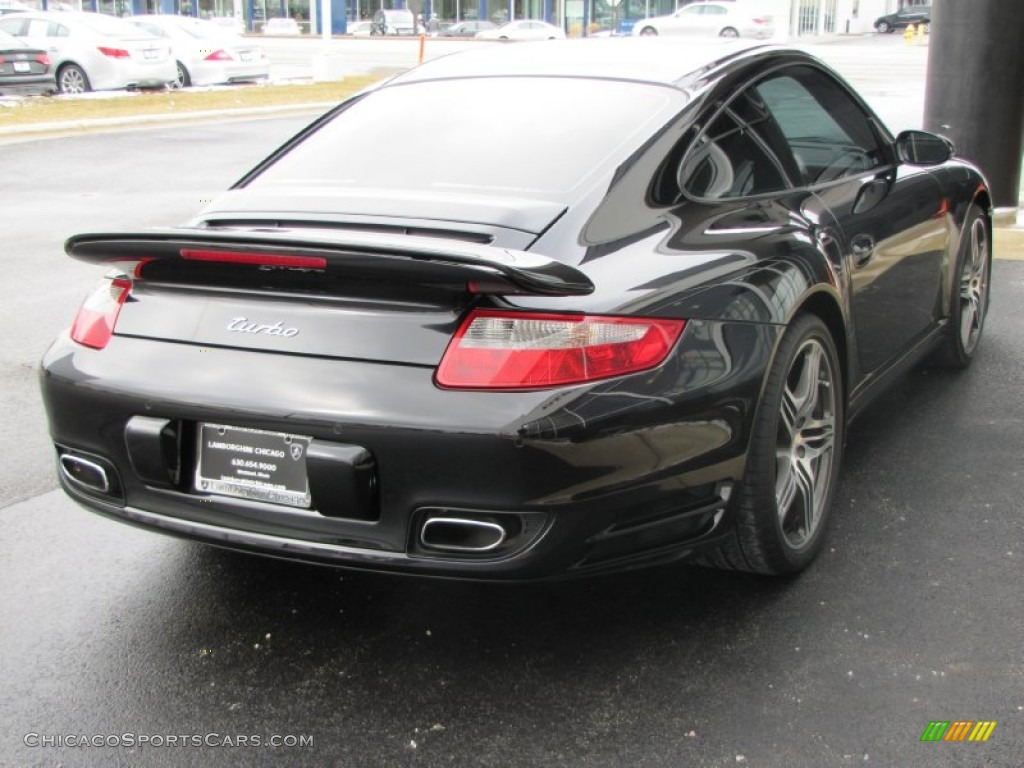 2007 911 Turbo Coupe - Basalt Black Metallic / Black photo #18