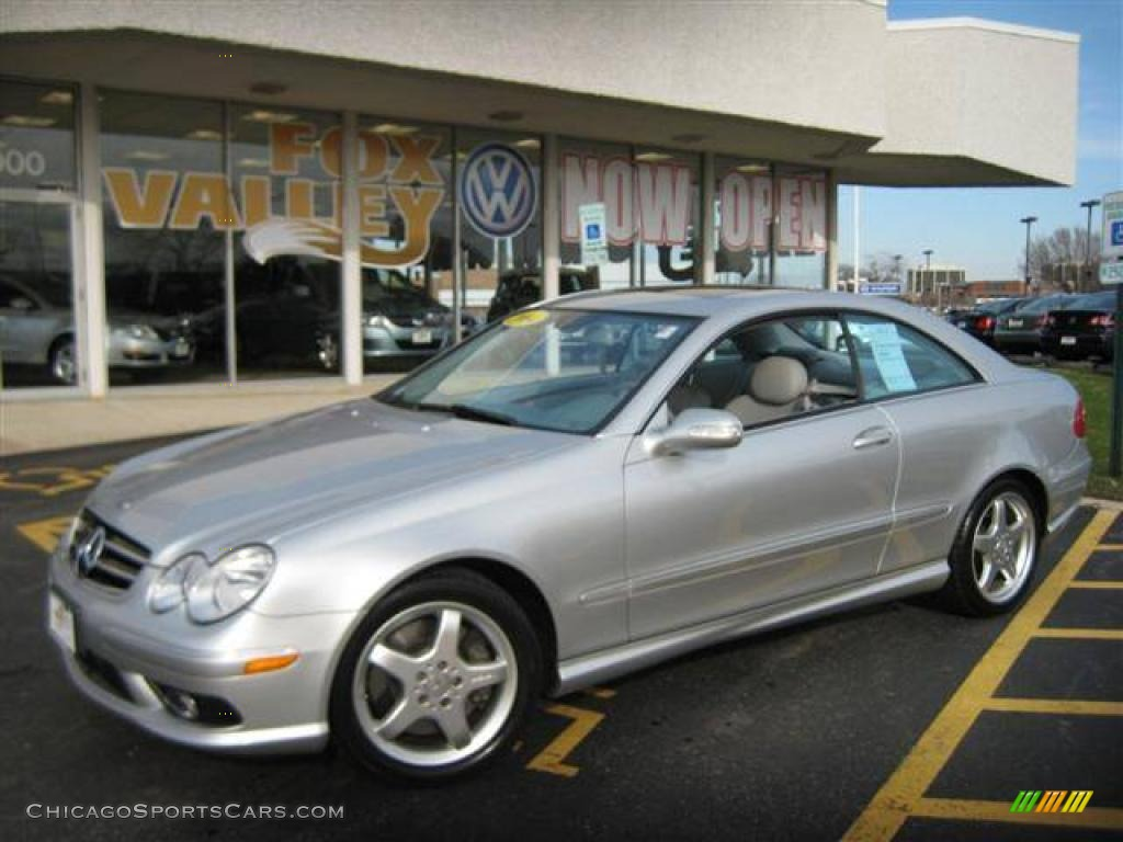 2004 CLK 500 Coupe - Brilliant Silver Metallic / Stone photo #1